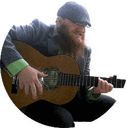 Aadolf Kärki playing the guitar whilst looking at the camera with the creepiest smile on his face.