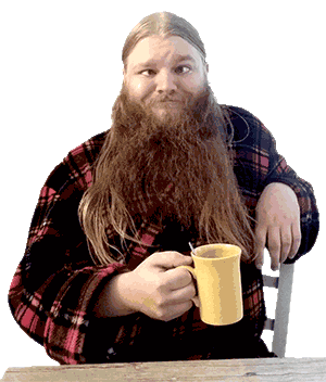 Yours truly, Aadolf Kärki, looking like an idiot and holding a coffee cup.